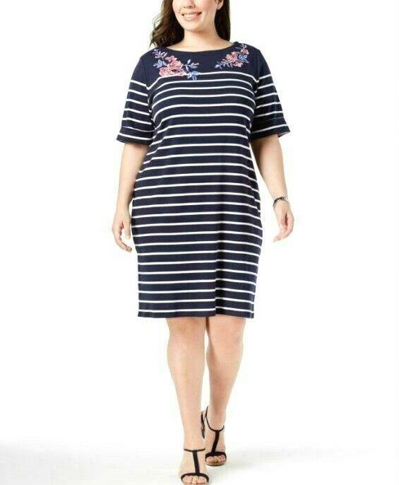 Karen Scott Plus Size 2X,3X Dress Floral Embroidered Striped Shift Dress NEW $54