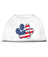 White Patriotic Paw Print Dog Tee Shirt by Mira... - $11.98