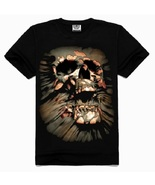 Mens Casual 3D personality Skull Printing Short-sleeve T-shirt Cotton Sp... - $15.99