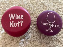 2 Silicone Wine Bottle Caps Pink Purple Wine Not? I Earned It Wine Glass - $6.43