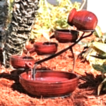 Red Ceramic 5-Tier Hand Painted Outdoor Bird Bath Fountain with Solar Pump - $144.95
