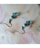 Blue Fishhook Earrings Two Tone Blue Silver Plate - $3.00