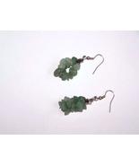 Green Gemstone Cluster Silver Plate Fishhook Ea... - $16.00