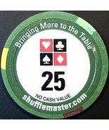 $25 NCV Promotional Casino Chip, Shuffle Master. N70. - $3.50