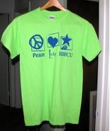 Navy on Lime Green Cotton T Shirt Gildan Sz S - $7.00