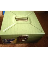 Metal Check Box Lock Box Olive Green Key Inside... - $20.00