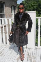 Designer Full Length Sable brown black hue Mink Fur Coat Jacket stroller... - $849.99