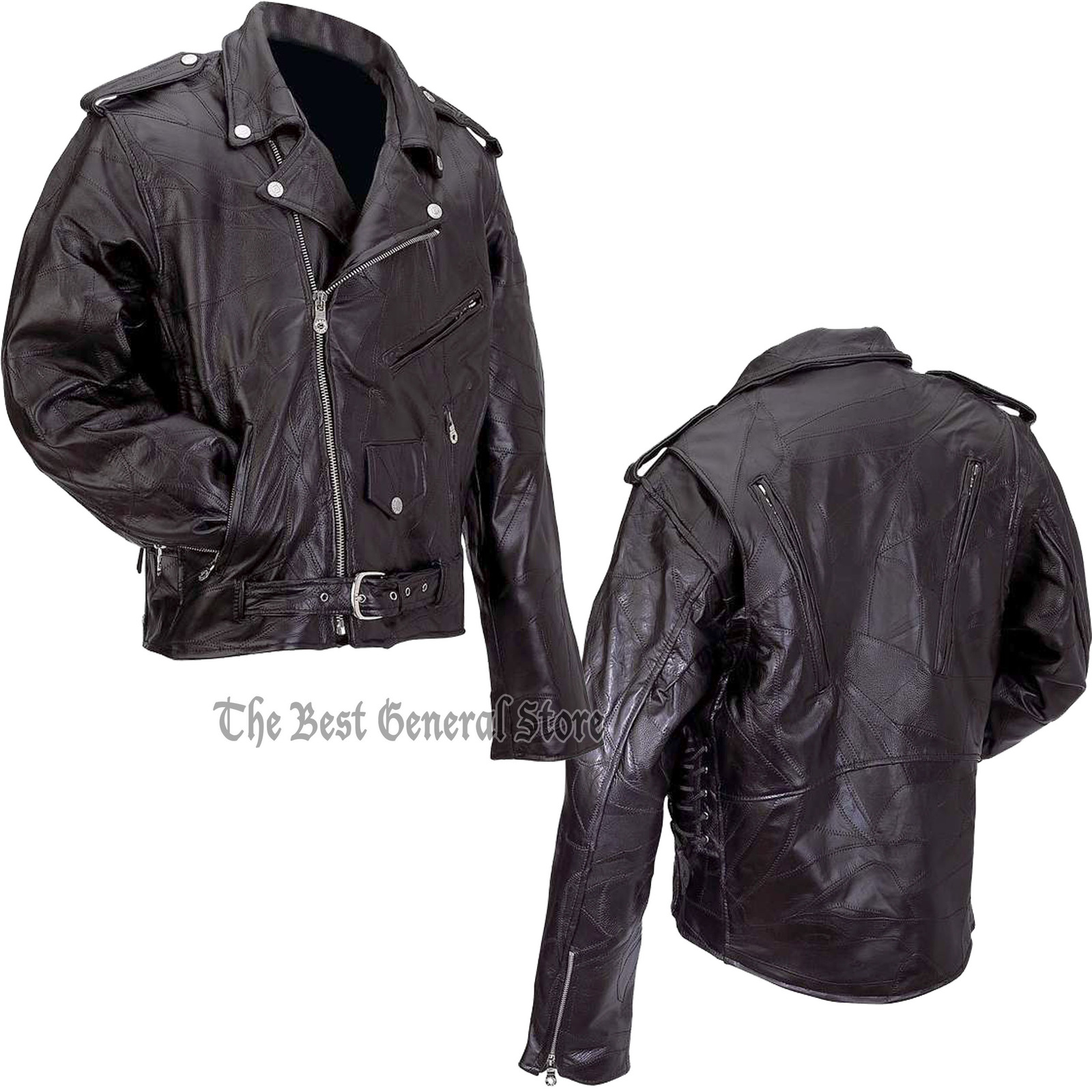 Patchwork leather motorcycle jacket combo gfmot 1800