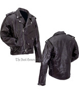 Mens Black Buffalo Leather Classic Biker Style Motorcycle Jacket Zip-Out... - $49.99+