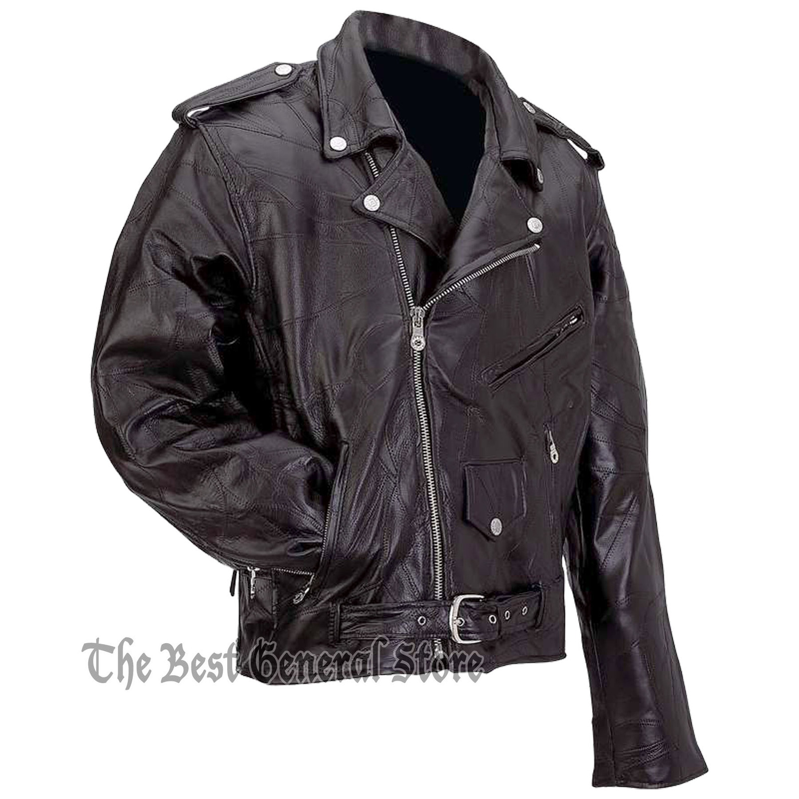 Mens Black Buffalo Leather Classic Biker Style Motorcycle Jacket Zip-Out Liner