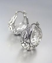 BALINESE Designer Inspired 18kt White Gold Plated Filigree Hoop Earrings - $26.99