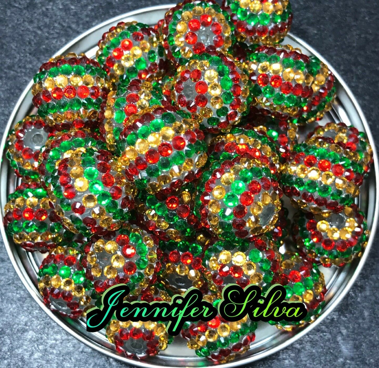 Christmas Golden Red Green Striped Rhinestone Chunky Bubblegum beads 20mm