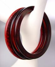 CHIC 3 PC Thin Faux Wood Brown Amber Red Dots Acrylic Bangles Bracelet Set - €9,13 EUR