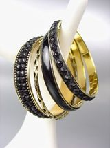 CHIC 4 PC Byzantine Black Resin Beads Enamel Antique Gold Brass Bangles ... - €13,44 EUR