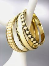 CHIC 4 PC Byzantine Creme Resin Beads Enamel Antique Gold Brass Bangles ... - €13,44 EUR