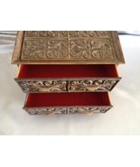 Vintage Brown Jewelry Box 70s Spanish Look Red ... - $12.49