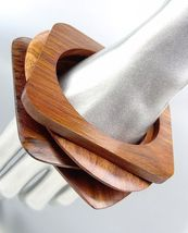 Chic 4 Pc Natural Carved Polished Brown Wood Oval Square Bangle Bracelet - $19.99