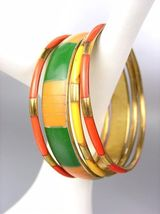 CHIC 4 PC Tangerine Orange Bamboo Green Saffron Yellow Resin Bangle Bracelets - $14.99