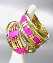 CHIC 5 PC Byzantine Fuchsia Pink Resin Horn Antique Gold Brass Bangles B... - €15,36 EUR