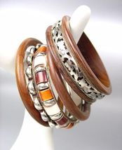 CHIC 5 PC Natural Brown Wood Silver Brass Horn Resin Bangle Bracelet - €14,47 EUR