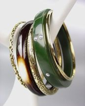 CHIC 5 PC Natural Green Resin Brass Brown Horn Bangle Bracelet - $16.99
