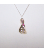 Vintage Silver Plate Cat Birthstone Necklace Pu... - $5.00