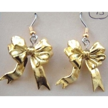 Funky BOWS GOLD RIBBON EARRINGS-Welcome Home-Fun Holiday Charm Costume J... - $5.97