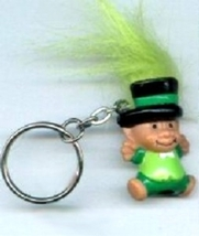 Funky LEPRECHAUN TROLL KEYCHAIN-Fun Lucky Charm Gnome Costume Jewelry-LI... - $6.97