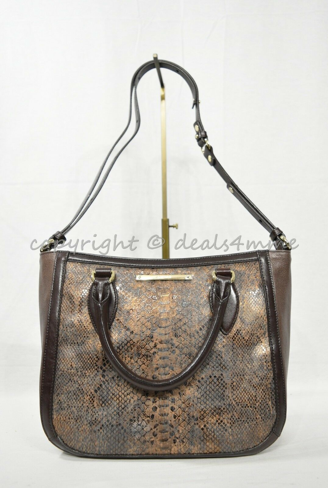 NWT Brahmin Small Lena Leather Satchel/Shoulder Bag in Brown Barrow image 2