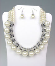 CHUNKY Creme Pearls HEMATITE Crystals Drape Necklace Earrings Set BRIDAL - $20.89