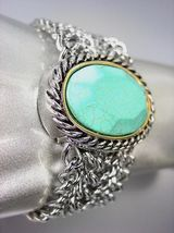 CHUNKY Turquoise Stone Silver Cable Medallion Mesh Chain Magnetic Bracelet - $25.64