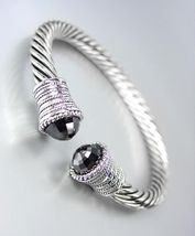 CLASSIC Designer Inspired Black Onyx CZ Crystal Cable Cuff Bracelet - $24.99