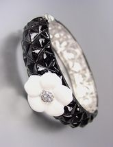 CLASSIC Designer Style Black Quilted White Camille CZ Crystals Flower Br... - $28.49