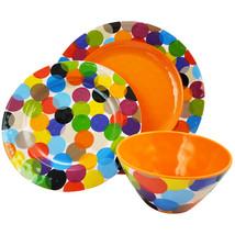 Studio California Party Circles 12 Piece Melamine Dinnerware Set - $59.60