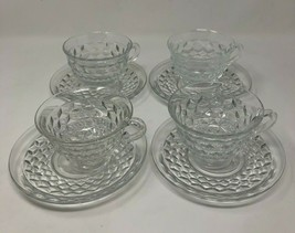 Fostoria Clear Cubist Tea Punch Cups & Saucer Set 4 Place Setti American... - $19.28