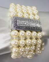 CLASSIC Designer Style Silver Cable CZ Crystals Creme Pearls Magnetic Br... - $490,31 MXN