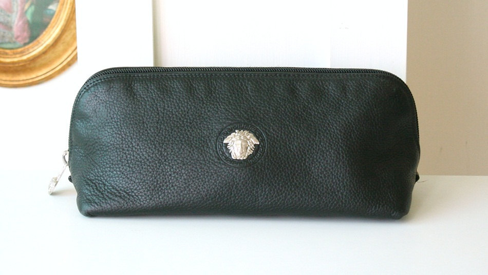 Primary image for Authentic Gianni Versace Italy Leather Black Pouch Medusa vintage handbag