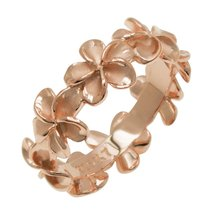 Plumeria Eternity Sterling Silver Rose Gold Promise Engagement Ring Size... - $49.95