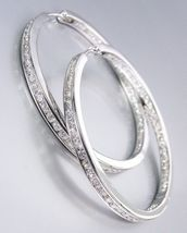 "CLASSIC Thin 18kt White Gold Plated Inside Outside CZ Crystals 1"" Hoop Earrings - $40.84"