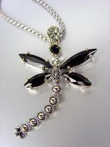 Designer Inspired Chunky Black Onyx CZ Crystals Balinese Dragonfly Necklace - $29.99