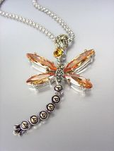 Designer Inspired Chunky Brown Topaz CZ Crystals Balinese Dragonfly Necklace - $29.99
