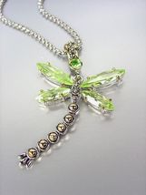 Designer Inspired Chunky Peridot Green CZ Crystals Balinese Dragonfly Necklace - $29.99