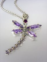 Designer Inspired Chunky Purple Amethyst CZ Crystals Balinese Dragonfly Necklace - $29.99