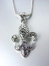 Designer Inspired Silver Kali Texture FLEUR DE LIS Pendant Box Chain Necklace - $25.99