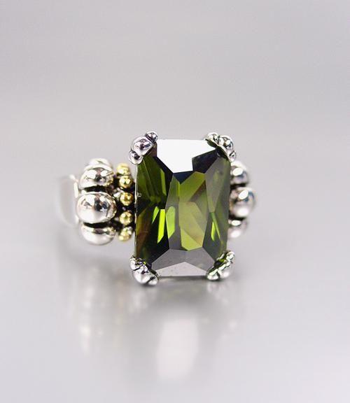 Designer Style Emerald-cut Dark Olive Green CZ Crystal GLACIER Caviar Ring