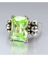 Designer Style Emerald-cut Green Peridot CZ Crystal GLACIER Caviar Ring - $23.74