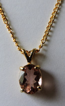 Gorgeous Faceted Pink Tourmaline 14k Gold Plated Pendant  Necklace - $75.00