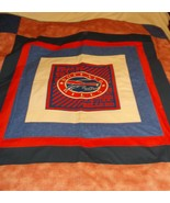 handcrafted quilt Buffalo Bills 53 x 58 red white blue blanket logo panel   - $55.00