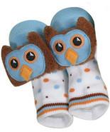 Baby Boys Blue Owl Rattle Socks Size 6-12 Months - $8.00