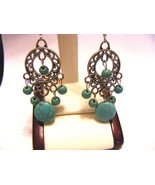 TIBETAN SILVER PIERCED EARRINGS  TURQUOISE CHIPS ROUND BEADS - $9.49
